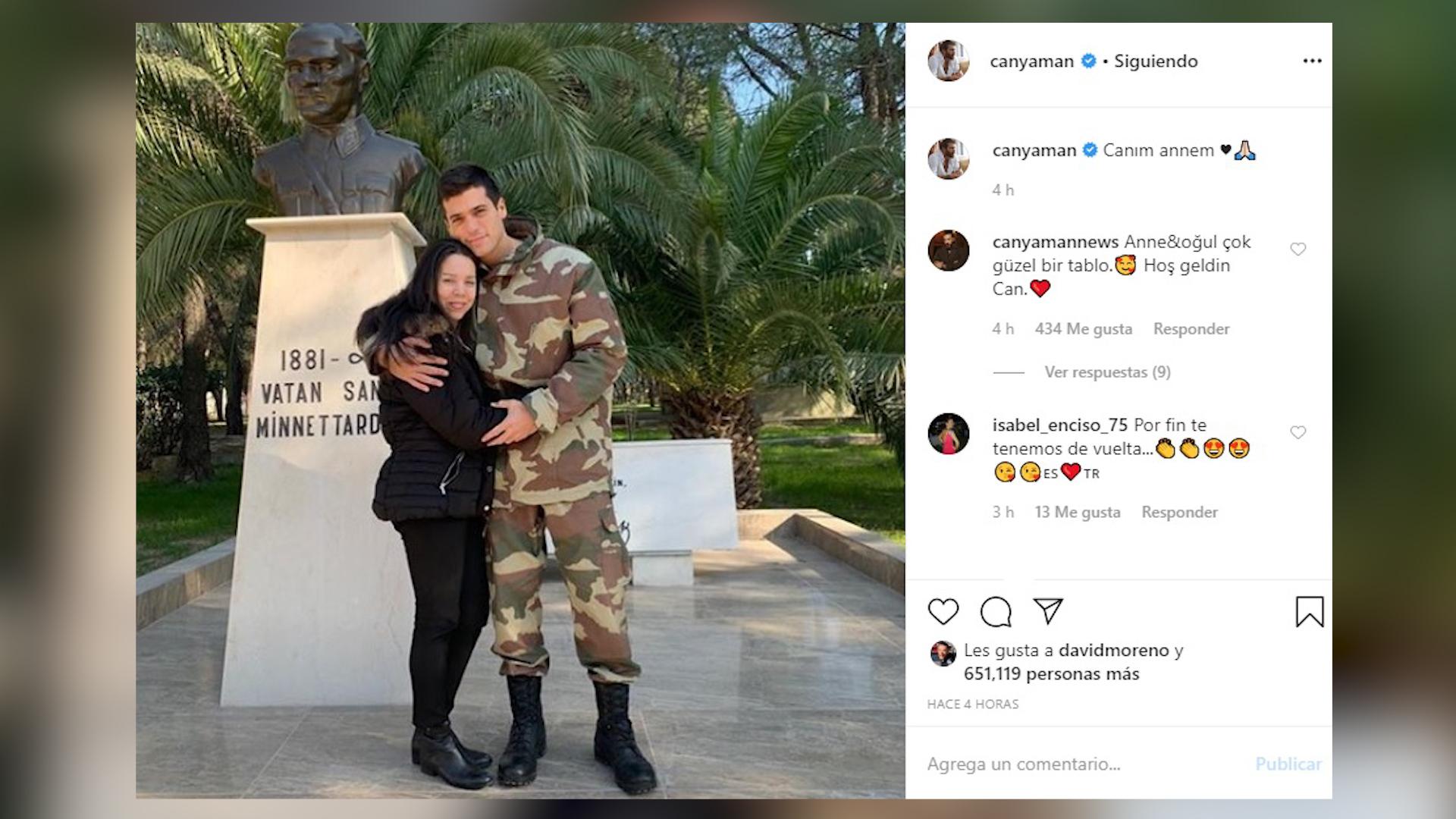 Can Yaman reaparece en Instagram con una fotografía con su madre